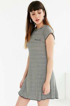 BDG Cap-Sleeve Camper Pocket Ribbed Dress