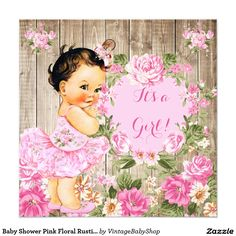 Baby Shower Pink Floral Rustic Wood Girl Brunette 5.25x5.25 Square Paper Invitation Card