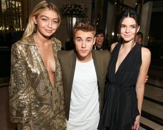 Pin for Later: The Stars Saved Their Sexiest Looks For Last at PFW Gigi Hadid, Justin Bieber, and Kendall Jenner Gigi Hadid, Justin Bieber, and Kendall Jenner at the CR Fashion Book launch party.