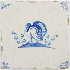 Antique Dutch Delft tile in blue with a turkey, 17th century