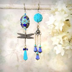Resplendent - Cobalt Blue & Turquoise Asymmetrical Dragonfly Earrings by MiaMontgomery