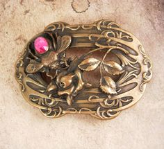 1902 Antique Bee aesthetic Sash buckle pink by vintagesparkles, $145.00
