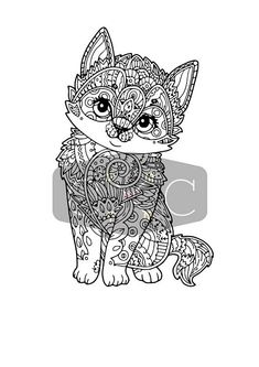 Kitten Zentangle Svg Eps Dxf Png File Cat Coloring PageColoring Book