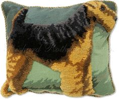 Welsh Terrier Dog Pillow - Needlepoint Dog Pillows at NeedlepointPillows.com