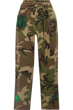 Marc Jacobs - Embellished Camouflage-print Cotton-twill Tapered Pants - Green - US