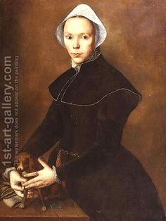 Portrait of a lady with a lapdog on a table attributed to Pieter Pietersz 1540-1603