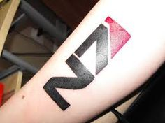 Image result for mass effect tattoo                              …