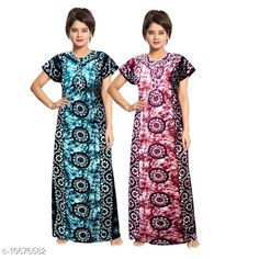 Checkout this latest Nightdress Product Name: *Women Pack of 2 Floral Nightdress* Fabric: Cotton Sleeve Length: Short Sleeves Pattern: Printed Multipack: 2 Sizes: L, XL, XXL, XXXL, Free Size (Length Size: 54 in)  Country of Origin: India Easy Returns Available In Case Of Any Issue   Catalog Rating: ★3.9 (430)  Catalog Name: Women Cotton Nightdress Combo CatalogID_1959941 C76-SC1044 Code: 175-10676582-1731