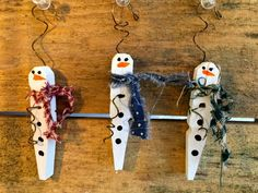 Items similar to Set Of 3 - Made to Order Handmade Sculpey Clay Snowmen Ornaments (set of on Etsy Christmas Candy Crafts, Christmas Craft Fair, Beaded Christmas Ornaments, Etsy Christmas, Snowman Crafts, Christmas Wood, Xmas Crafts, Snowman Ornaments, Snowmen
