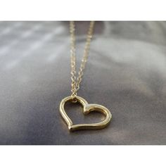Floating Heart Charm Necklace, 14k Gold Filled Heart Necklace, Classic... ($49) ❤ liked on Polyvore featuring jewelry and necklaces