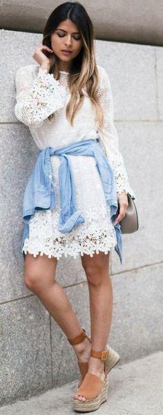 #summer #feminine #outfitideas |  White Lace Dress + Denim
