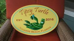 Beach House Custom Cottage Sign Personalized with 3D Turtle