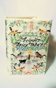 cross-stitched grimm's fairy tales book cover - hannah ryan