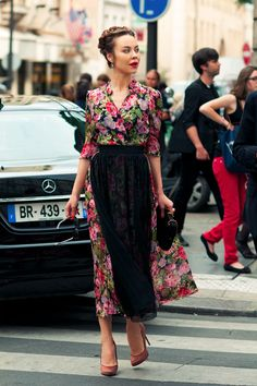 Ulyana Sergennko. Love the dress and her whole look, but without the lacy apron for myself. :)