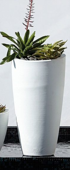 Our San Miren Planter's subtle rings swirl upward, giving a sense of organic texture. White finish comes pre-drilled with drainage holes. All other colors are not pre-drilled allowing the planters to be used indoors. Tall Planters, Stone Planters, White Planters, Modern Planters, Outdoor Planters, Planter Pots, Outdoor Decor, Garden Oasis, Lawn And Garden
