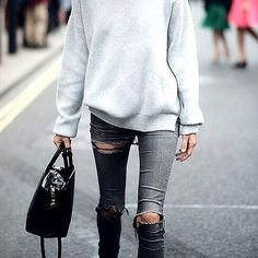 It's a balmy 30 degree Sydney day but can't help be inspired by this for Winter.  Grey knits and ripped denim ✔️