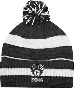 635813ba698 Amazon.com   Brooklyn Nets Adidas NBA Striped Multi Color Pom Cuffed Knit  Hat   Sports Fan Novelty Headwear   Sports   Outdoors