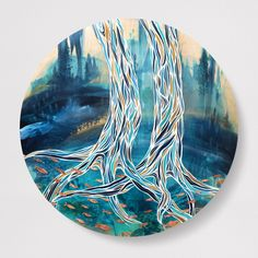 'Coastal Journey' round Acrylic round painting on wood with hammered copper metal fish by West Coast Canadian artist April Lacheur Copper Metal, Hammered Copper, Circle Crafts, Original Paintings, Tree Paintings, Metal Fish, Nature Artists, Art Bag, Canadian Artists