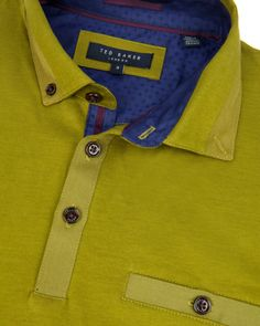 Grosgrain cotton polo - Bright Green | Tops & T-shirts | Ted Baker UK