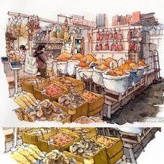 Tha Tien Dried Market illustration for Inn A Day room & restaurant #illustration #bkksketchers #lllouissketch
