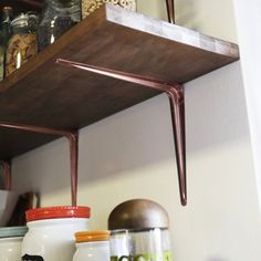 Apartment, sweet apartment: Installing butcher block shelves in concrete walls with metallic painted brackets - Home Professional Decoration Paint Shelf Brackets, Shelving Brackets, Copper Shelf Brackets, Kitchen Shelves, Wall Shelves, Closet Shelving, Ladder Shelf Diy, Copper Spray Paint, Cheap Shelves