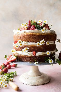 Strawberry Chamomile Naked Cake | halfbakedharvest.com #cake #spring #strawberry #recipes #easter