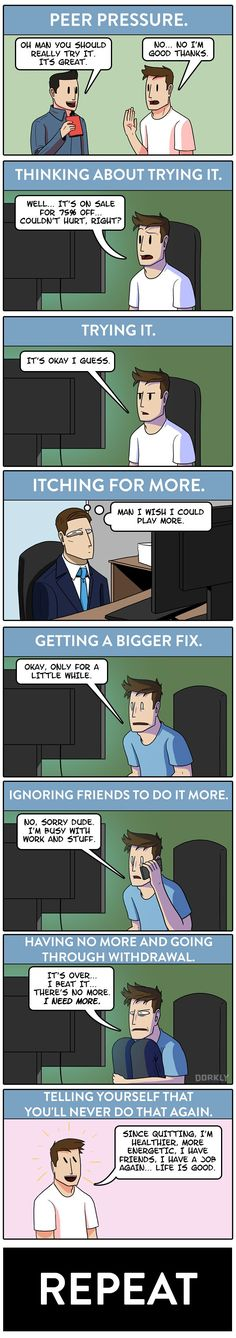 The Cycle of Videogame Addiction #dorkly #comics #videogames
