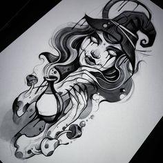 Chicano, Black And Grey Tattoos, Female Art, Blackwork, Tatoos, Gray Tattoo, Witch, Mandala, Weird