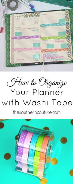 Keep yourself more organized by using washi tape in a planner. These tips and pointers from thesoutherncouture.com. will help you keep things straight.
