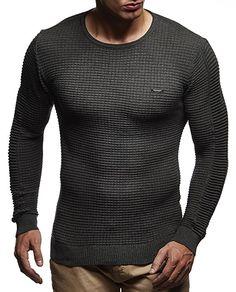 LEIF NELSON Herren Pullover Strickpullover Hoodie Basic Rundhals Crew Neck  Sweatshirt langarm Sweater Feinstrick LN1545;