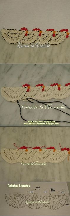 """3 barradinha galinha crochet: """"make single one for potholder"""", """"This looks like a very old-fashioned edging, something my grandmother would have…"""", """" Filet Crochet, Crochet Motifs, Crochet Borders, Crochet Diagram, Crochet Chart, Crochet Trim, Love Crochet, Crochet Flowers, Crochet Stitches"""