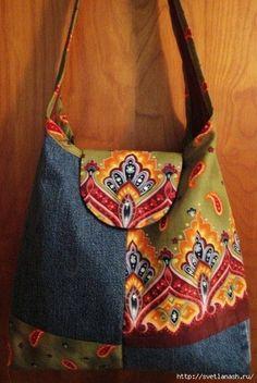 Re-purposed Denim & Fabric Purse Embellished with Hand-Set Swarovski Rhinestones great concept! Fabric Purses, Fabric Bags, Denim Fabric, Patchwork Bags, Quilted Bag, Denim Patchwork, Jean Purses, Purses And Bags, Denim Handbags