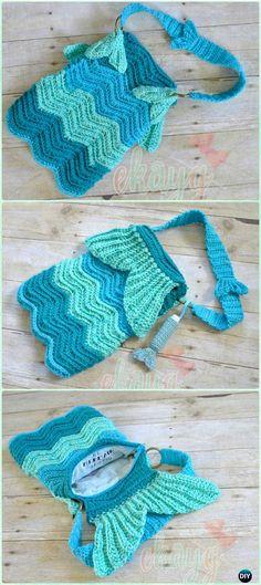 Crochet Mermaid Ripple Purse Free Pattern - Crochet Kids Bags Free Patterns