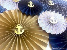 Nautical Blue and Gold Paper Rosettes, Paper Fans Backdrop, Nautical Nursery Decor, Nautical Baby Sh Baby Shower Decorations For Boys, Boy Baby Shower Themes, Gender Neutral Baby Shower, Baby Boy Shower, Nautical Nursery Decor, Nautical Party, Nautical Wedding, Anchor Party, Baby Shower Marinero