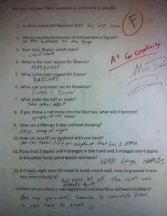 Humor Discover Funny Test Answers from Smart Ass Kids: Borderline Genius - Humor Funny Test Answers Funny School Answers Kids Test Answers Riddles With Answers Clever Yahoo Answers Funny Laughing So Hard Kids Laughing Just For Laughs Funny Texts Really Funny, The Funny, Super Funny, How To Be Funny, Seriously Funny, Funny Life, Funny Test Answers, Riddles With Answers Clever, Kids Test Answers