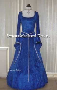 Medieval LOTR Pagan Dress Costume Royal Blue & Silver, Dawns Medieval Dresses
