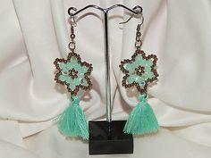 boucles d'oreilles étoiles et pompons vert golden / bronze €8