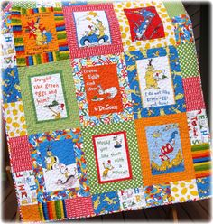 Dr Seuss Baby Quilt Green Eggs and Ham by CarleneWestberg on Etsy
