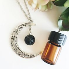 Boho Moon Lava Bead Essential Oil Necklace Diffuser • Aromatherapy Jewelry by LavaEssentials