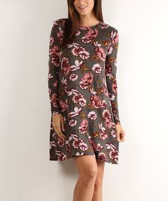 Loving this Olive Floral Long-Sleeve Shift Dress on #zulily! #zulilyfinds