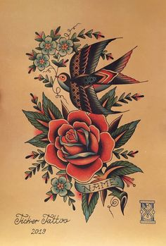Traditional Sailor Tattoos, Small Traditional Tattoo, Traditional Tattoo Flowers, Neo Traditional, Compass Rose Tattoo, Rose Hand Tattoo, True Love Tattoo, Love Tattoos, Tatoos
