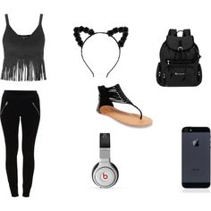 blackkkkkk by queenbri23 on Polyvore featuring Topshop, VILA, Wet Seal, Sherpani and Beats by Dr. Dre