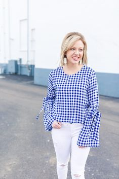 Fashion 2018, Spring Fashion, Fashion Trends, Blue Gingham, Royal Blue, Bell Sleeves, Blue And White, My Style, Long Sleeve
