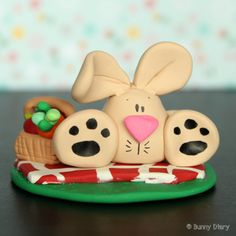 Picnic time Bunny clay figurine by BunnyDiary on Etsy