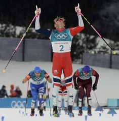 2018 Winter Olympics - Johannes Hoesflot Klaebo, of Norway, celebrates after winning the men's cross-country skiing sprint classic on Feb. Nordic Skiing, Pyeongchang 2018 Winter Olympics, Johnny Weir, Mens Crosses, Winter Games, Cross Country Skiing, The Man, Norway, Feb 13