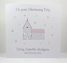 Handmade Personalised Christening Card - Church - Girl or Boy | eBay