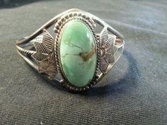 Vintage Sterling Navajo Bracelet Old Fred Harvey Very DetailedTurquoise Stone