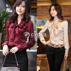 Womens NEW Korea Long Sleeve Bowknot Vintage Shirts Ladies Bowtie OL Tops Blouse