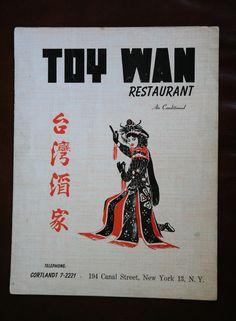 Vintage NYC Toy Wan Chinese Restaurant Menu, Vintage New York Collectable Menu, Vintage New York, Chinese Menu Collectables by Antiquevintagefind on Etsy