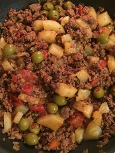 Abuela's Picadillo Cubano and our first grocery outing! - Tales from the Mommy Trenches - Abuela's Picadillo Cubano and our first grocery outing - Cuban Dishes, Spanish Dishes, Beef Dishes, Meat Recipes, Mexican Food Recipes, Dinner Recipes, Cooking Recipes, Hawaiian Recipes, Spanish Recipes